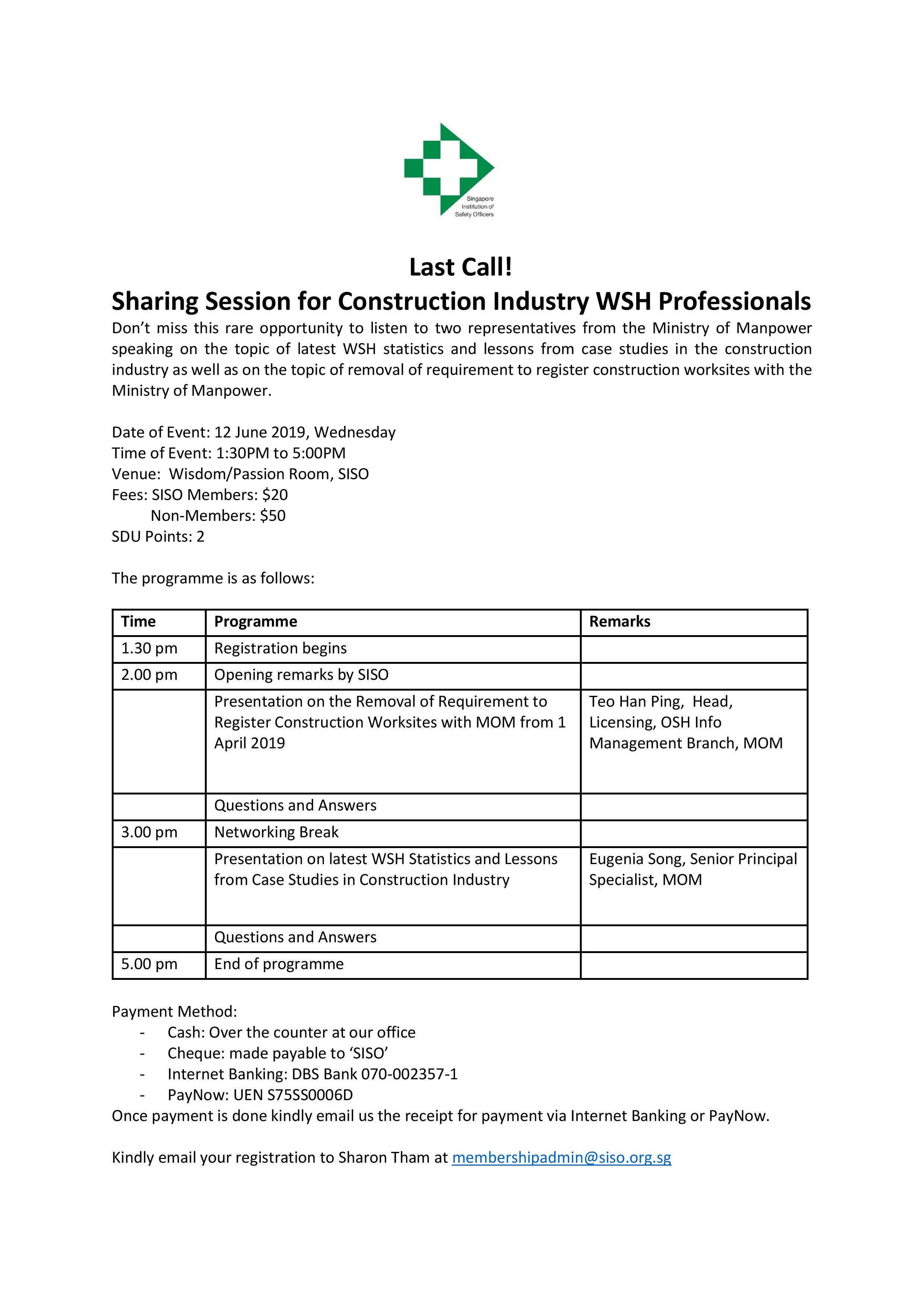 LAST CALL Sharing Session for Construction Industry WSH Professionals FINAL