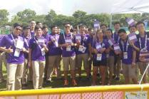Smiling volunteers on site at the 28th SEA Games
